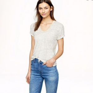 J. Crew Gray Linen Metallic Trim Scoop Neck Tee XS